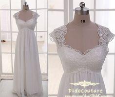 Romantic Cap Sleeves Lace Chiffon Bridal Gown,Beach Wedding Dress,Lace Bridal Dress on Etsy, $149.00