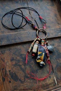 One Cent Coupon Kantha AMULET Necklace Urban Gypsy by TuscanRose