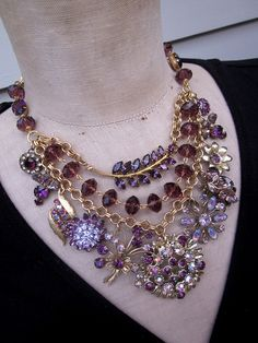 Vintage Necklace Rhinestone Necklace Statement by rebecca3030, $169.00