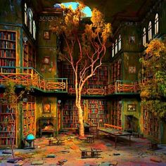 - Lori Nix, The Library, Photograph of diorama, from The City Series. Oh, a post-apocalyptic library diorama. There could likely be nothing more pleasing to me than the image of trees growing. Abandoned Buildings, Abandoned Library, Abandoned Mansions, Old Buildings, Abandoned Places, Haunted Places, Fountains Of Wayne, Dream Library, Magical Library