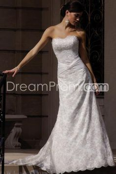 Amazing Empire Strapless Floor-length Chapel Lace Wedding Dresses (3AD0112)