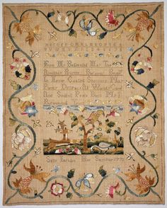 Sampler by Sally Jackson 1771. Linen plain weave, embroidered with silk in cross, split, French knot and stem stitches. Museum of Fine Arts, BostonGoogle Art Project: Homevia Wikimedia