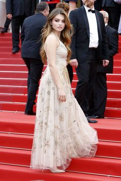 """French model Thylane Blondeau is dreamy in Dior at the """"Loveless"""" premiere at the 2017 Cannes Film Festival."""