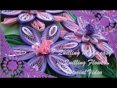 Paper Quilling How to make Beautiful Quilling Purple/White Flower Quilling -Paper Art Quilling - YouTube