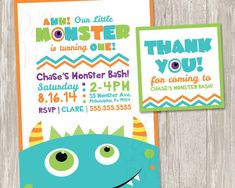 Monster Birthday Invitation Our Little by ThePaperVioletShoppe