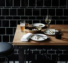 Kitchen splashback The Town Mouse, Melbourne Kitchen Styling, Food Styling, Black Subway Tiles, Vogue Living, Food Concept, Le Chef, Cafe Restaurant, Coffee Shop, Food Photography