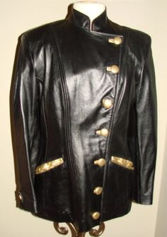 VINTAGE LILLIE RUBIN EREZ 1980'S BLACK LEATHER GOLD BLAZER JACKET USA 8 EC
