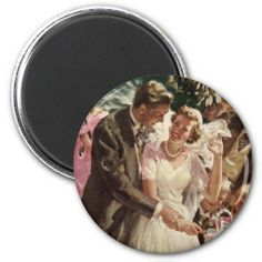 Vintage Wedding Bride Groom Newlyweds Cut Cake Refrigerator Magnets