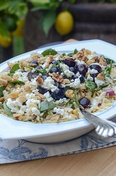 Orzo, Grape, Feta Salad (from Valerie's Kitchen).  I need to make this!