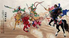 Lu Bu vs Guan Yu, Liu Bei, and Zhang Fei