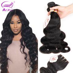 Maleisische Virgin Haar Met Sluiting 4 Bundels Virgin Menselijk Haar Met Sluiting Rosa Haarproducten Maleisische Body Wave Met Sluiting