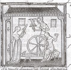 Textile Tools: Medieval Images of Spinning Wheels   16th  century  France