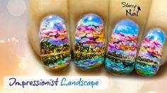 impressionistic flower nail design - Google Search