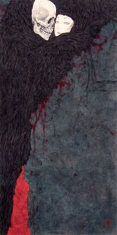 Takato Yamamoto's Death and the Maiden.  Death grim reaper Father Time scythe maiden girl woman dance danse macabre skull skeleton