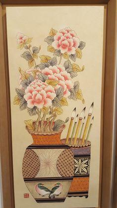 2018 민화 아트페어 다녀왔습니다 : 네이버 블로그 Korean Painting, Decoupage, Chinese Brush, Ikebana, Asian Art, Cool Art, Folk, Birds, Japanese