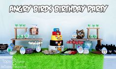 Angry birds party - love the wooden tiers for food; also has printables for all the food labels