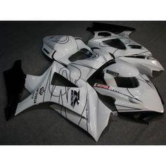 Suzuki GSX-R 1000 2007-2008 K7 Injection ABS Fairing - Corona - White/Black   $659.00