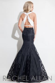 Rachel Allan 7133 - Two-piece mermaid dress with striped organza skirt and lace top prom dress #ipaprom