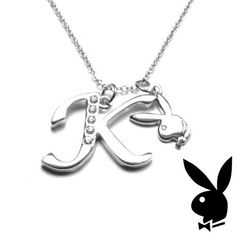 Playboy Necklace Initial Letter K Pendant Bunny Charm Crystals Platinum Plated #Playboy #Playmate