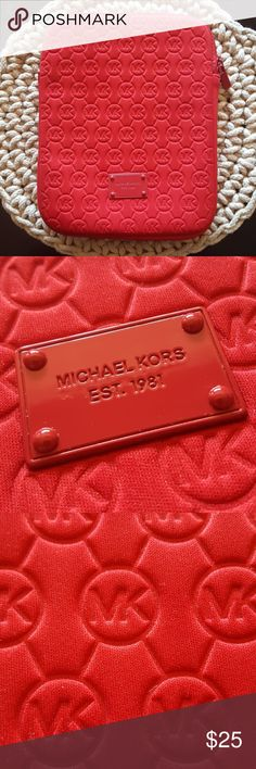 michael kors i-pad case michael kors red quilted logo i-pad case in perfect condition smoke free home  10 1/2 long 8 1/2 wide Michael Kors Accessories Tablet Cases