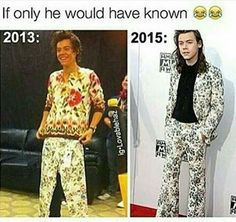 2013 Harry making fun of 2015 Harry's fashion style