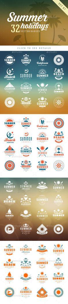 Summer Holidays Badges - Badges & Stickers Web Elements