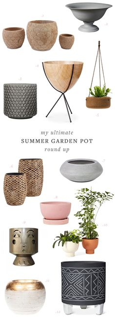my ultimate resource guide for summer garden pots. loads of mixed materials, finishes, plant stands, planters, hanging pots, and more! Get the full source list on jojotastic.com