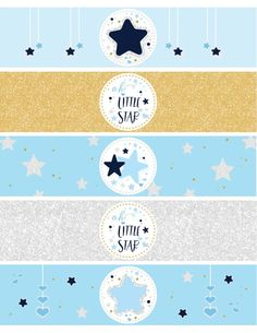 Instant Download - Oh Little Star Water Bottle Labels - Twinkle Twinkle Little Star Labels - Baby Sh Star Baby Showers, Baby Boy Shower, Imprimibles Baby Shower, Police Baby, Baby Shower Labels, Shower Inserts, Beer Packaging, Water Bottle Labels, Twinkle Twinkle Little Star