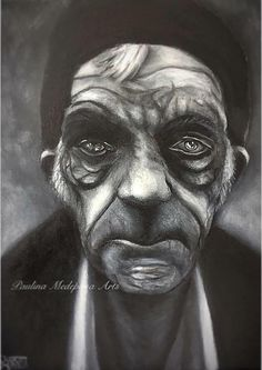 Old man portrait in acrylics by Paulina Medepona Arts