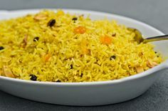 Basmati Rice Pilaf with Dried Fruit and Almonds! Goes great with the Middle Eastern Chicken!