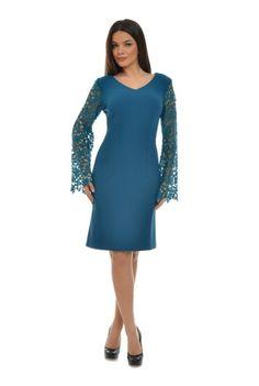 Rochie turcoaz cu dantela CSF-210-T -  Ama Fashion Dresses For Work, Formal Dresses, Fashion, Tea Length Formal Dresses, Moda, Formal Gowns, Fashion Styles, Black Tie Dresses, Gowns