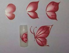 One Stroke Painting: Two types of butterflies for + - Nageltypen Uñas One Stroke, One Stroke Nails, One Stroke Painting, Tole Painting, Butterfly Nail Art, Nails First, Nagel Gel, Learn To Paint, Nail Arts