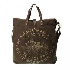 CAMPOMAGGI großer Shopper Canvas LAVAGGIO STONE TEODORANO C1262 TVVLTC 3254 - moro Stampa bronzo