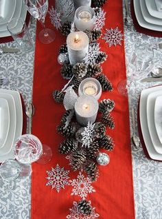 Table decorations for winter dinner party, I  would use either royal blue or teal color table runner though