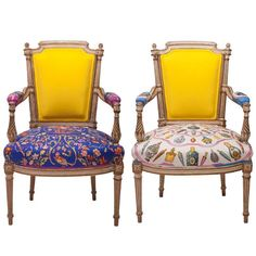 Louis XVI Armchairs in Vintage Hermès Silk and Oscar De La Renta Cashmere | From a unique collection of antique and modern armchairs at https://www.1stdibs.com/furniture/seating/armchairs/