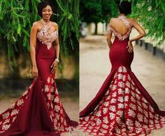 2017 New Arabic High Neck Satin Mermaid Evening Dresses Lace Applique Floor Length Formal … – African Fashion Dresses - African Styles for Ladies African Prom Dresses, African Wedding Dress, African Fashion Dresses, Pageant Dresses, African Dress, Ghanaian Fashion, African Wear, African Style, Ankara Fashion