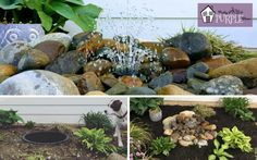 One of the Easiest (and coolest) DIY water features One of the Easiest (and coolest) DIY pondless water feature yet. Make this invisible fountain bubbler in an afternoon and enjoy it for years to come! Diy Water Feature, Backyard Water Feature, Ponds Backyard, Backyard Landscaping, Backyard Waterfalls, Garden Ponds, Koi Ponds, Landscaping Ideas, Backyard Ideas