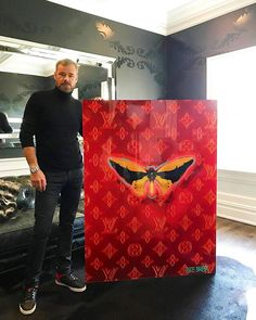 """This amazing piece has arrived at it's new home! It's stunning in this """"lounge like"""" """"cozy""""  chill-out bar room in my client's amazing home. The piece is a perfect fit with the decor! Congrats KB!  #wall #davidstesner #decor #intriordesign #interiordesigner #interiorstyle #luxurylifestyle #luxuryrealestate #lv #vm #candyapplered #ferrarired #butterfly #butterflies #butterfly #butterflyeffect #ultrawickeddope #non¢ #non$ense #newseriescomingsoon #cobraart  #nyc #maryland #miami  #amsterdam…"""