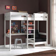 Lit mezzanine NOAH avec bureau et rangements intégrés - 90x190cm + ...