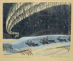 """Nordlys an Finnmarkvidda"" (Northern Lights) woodcut by Norwegin artist Frithjof Tidemand Johannessen (Carl Fritjof Tidemand-Yuhannessen)  (born 1916-died 1958)"