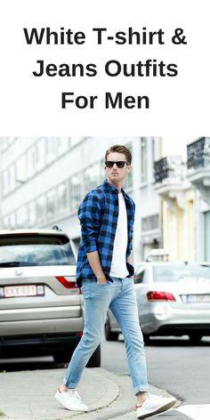 White t-shirt & jeans looks for men. Outfit Jeans, Shirt Outfit, Dress Shirt, T Shirt And Jeans, Jean Shirts, Big Men Fashion, Fashion Trends, Fashion Ideas, Fashion Styles