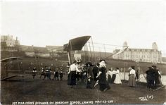 Oscar Morison's plane on Roedean lawn, May 1911 Brighton And Hove, Old Postcards, Old Photos, Plane, England, Education, Amazing, Building, Photography