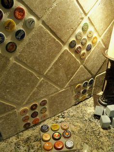 Something new to do with our bottle caps, can put this in our basement for the bar backsplash