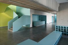 Made // Saldus Music and Art school // lime green and light blue concrete interior