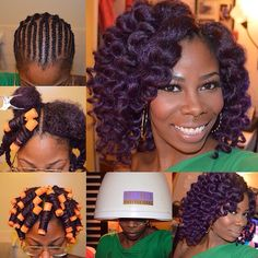 @kira_naco PURPLEMy new favorite color for the Fall/Winter. Here, I decided to install my crochet braids using a deep purple color. First, I washed, blow dried and braided up my natural hair to prepare it for crocheting. Secondly, I installed four packs of Janet Noir Afro Marley Hair and sectioned each piece as I began to rod it (this made the rodding process SO much easier). Thirdly, I continued rodding my entire head until I was complete and dipped each one in a cup of boiled hot wat...