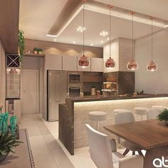 🥰 Projeto AT Arquitetura… Cozinha gourmet lindíssimaa! 😱🥰 Projeto AT Arquitetura Source Modern Kitchen Interiors, Luxury Kitchen Design, Kitchen Room Design, Diy Kitchen Decor, Interior Design Kitchen, Kitchen Ideas, Küchen Design, House Design, Open Plan Kitchen Living Room