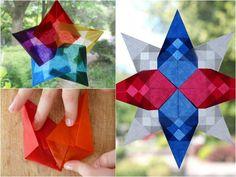 origami de Noël créatif - réaliser des étoiles multicolores magnifiques pour en décorer les fenêtres