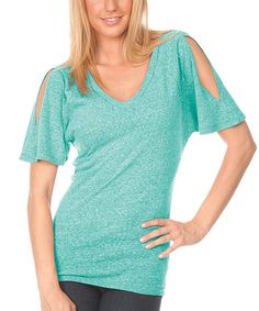 Another great find on #zulily! Kavio! Caribbean Blue Heather Cutout V-Neck Top by Kavio! #zulilyfinds