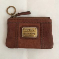 Small keychain ID Distress leather slight wear but not noticeable Fossil Bags Wallets