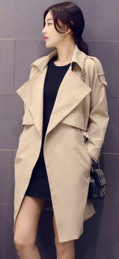 Solid Lapel Pockets Slim Long Coat